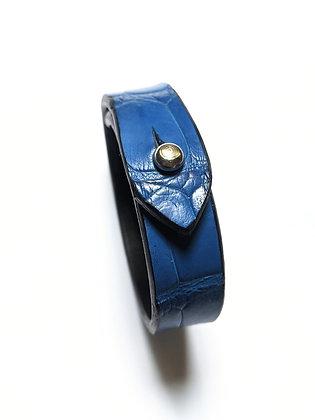 Bracelet cuir d'alligator véritable bleu