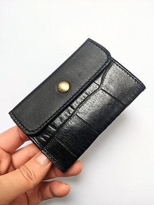 Porte-monnaie compact noir effet croco