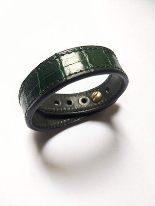 Bracelet cuir crocodile véritable vert