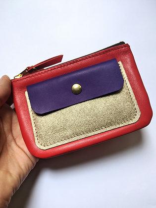Porte-monnaie zip rouge bleu et doré