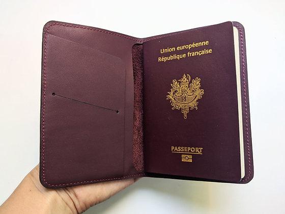 Porte-passeport bordeaux