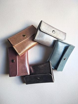Porte-monnaie compact métallisé