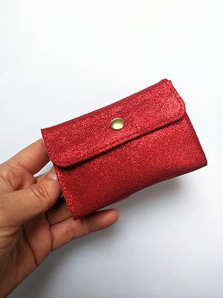 Porte-monnaie compact rouge à paillettes