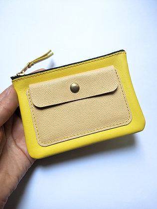 Porte-monnaie zip jaune et beige