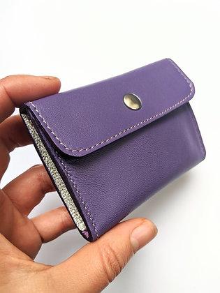 Porte-monnaie compact lilas et argenté