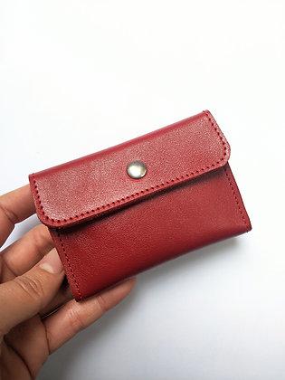 Porte-monnaie compact rouge uni