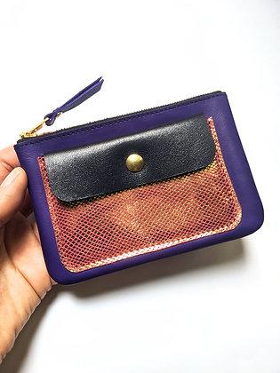 Porte-monnaie zip bleu et rose irisé