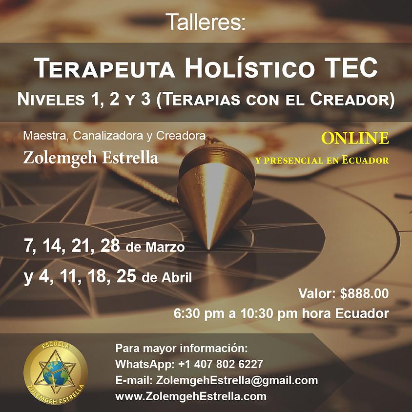 Taller Terapeuta Holístico T.E.C., pasos 1, 2 y 3 (Terapias con El Creador)