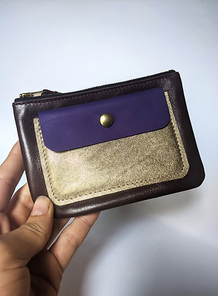 Porte-monnaie zip aubergine, bleu et doré