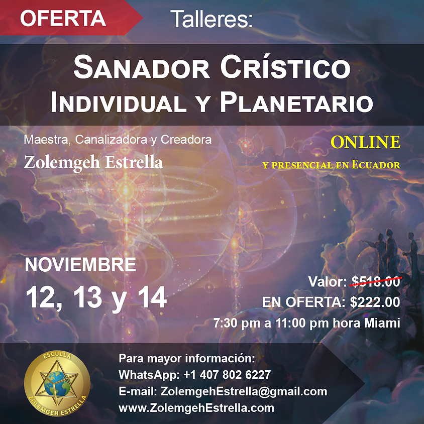 2 Talleres: Sanador Crístico Individual y Planetario - EN LÍNEA