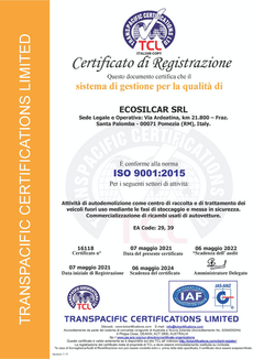 CERT-16118, ECOSILCAR SRL (ITALIAN COPY)