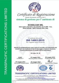 CERT-E3307, ECOSILCAR SRL (italian copy)