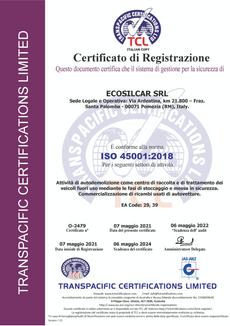 CERT-O-2479, ECOSILCAR SRL (ITALIAN COPY