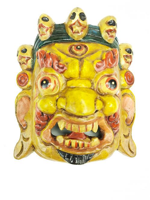 Maschera in Legno Mahakala / Gialla
