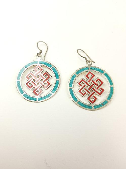 Orecchini Tradizionali Tibetani / Nodo Infinito Rosso e Azzurro