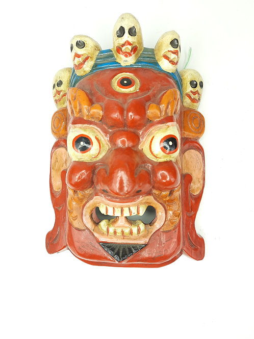 Maschera in Legno Mahakala / Rosso Acceso