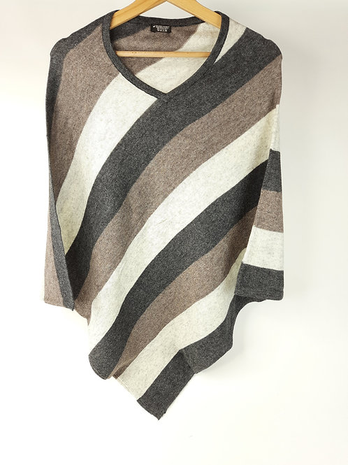 Poncho in Cashmere a Righe Colorate
