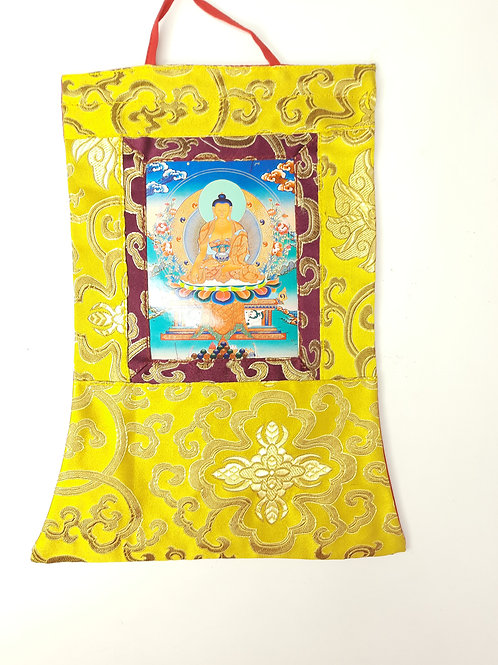 Thangka Tibetano in Seta Broccata Oro Piccola