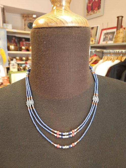 Collana Tradizionale Tibetana Girocollo tre fili - Lapis