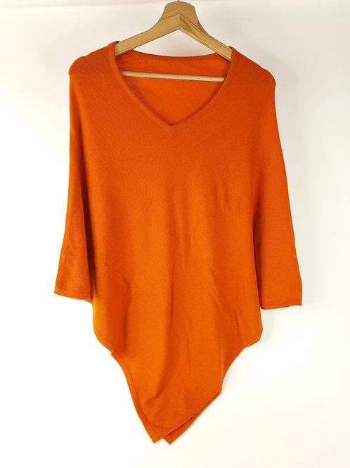 Poncho in Cashmere Arancione