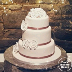 3 tier Wedding cake with edible roses.jp