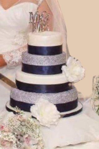 Navy Silver & White Weddiing Cake