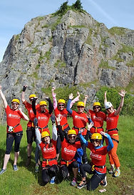 Group taking part in Abseil challenge