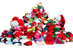 Pile of knitted Christmas stockings