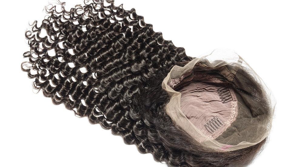 100% raw Brazilian human hair deep body wave full lace frontal customized wig