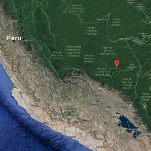 The Pope travelled to the Madre de Dios region (the red pin), in the heart of the Amazon jugle. Click on the image to expand it (Image: Google Maps)