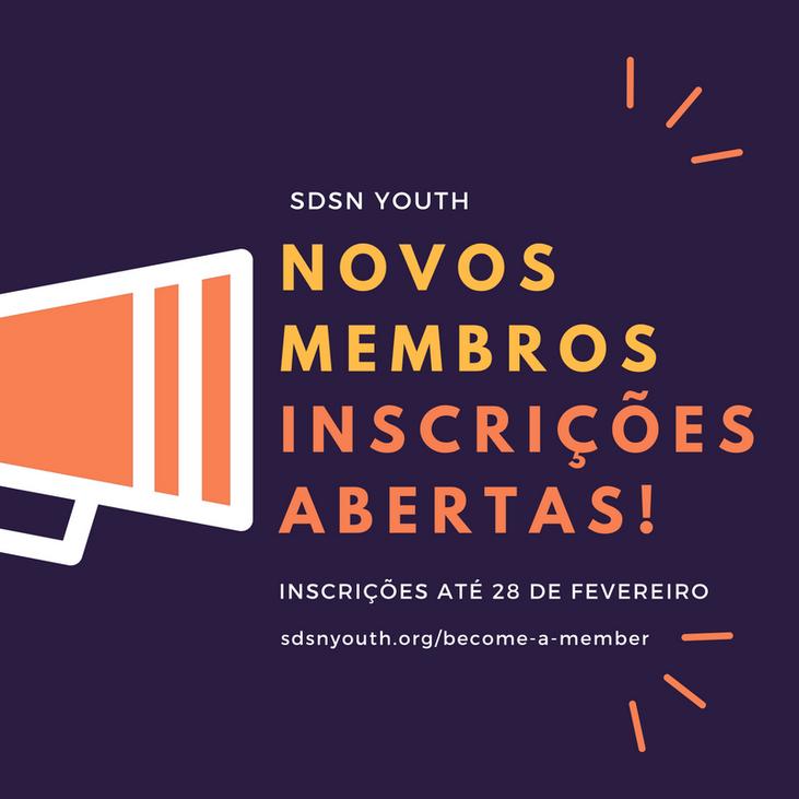 Inscrições abertas para novos membros da SDSN Jovem!