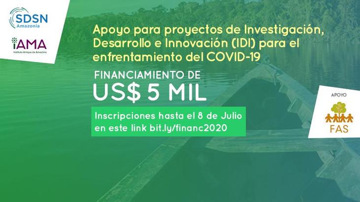 La convocatoria pública para apoyar las soluciones de PDI con financiamiento de US $ 5,000 finaliza