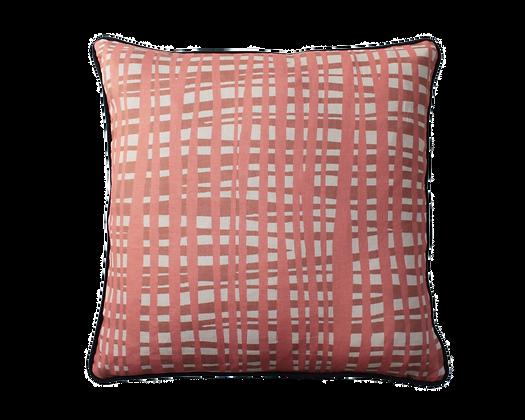 Coral + Rust Criss X Print linen cushion with dark Blue trim