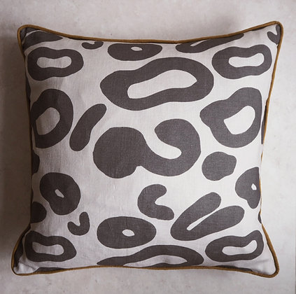 Black Leopard Print cushion with Mustard trim