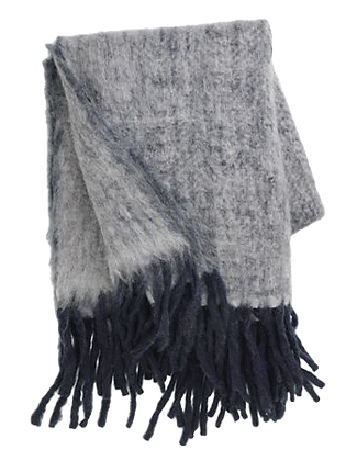 Dark Blue Mohair Throw