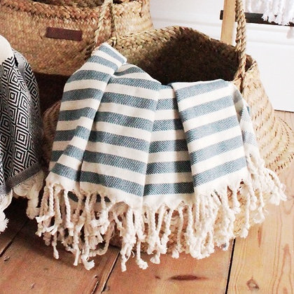 Blue striped beach towel/ picnic blanket