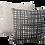 Thumbnail: Black + Neutral Criss X Print linen cushion with natural trim