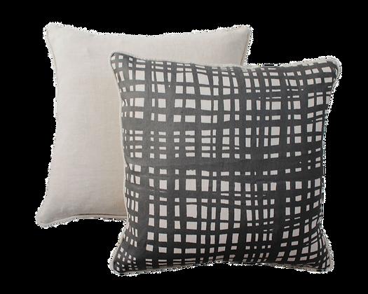 Black + Neutral Criss X Print linen cushion with natural trim