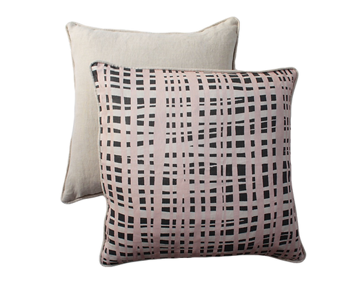 Pastel Pink Black + Neutral Criss X Print linen cushion with natural trim