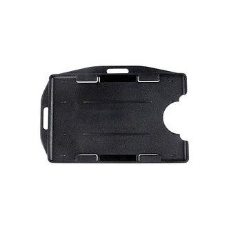 Black Rigid Plastic Badge Holder - 12 pack
