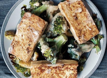 Tofu and Roasted Broccoli with Creamy Miso Sauce