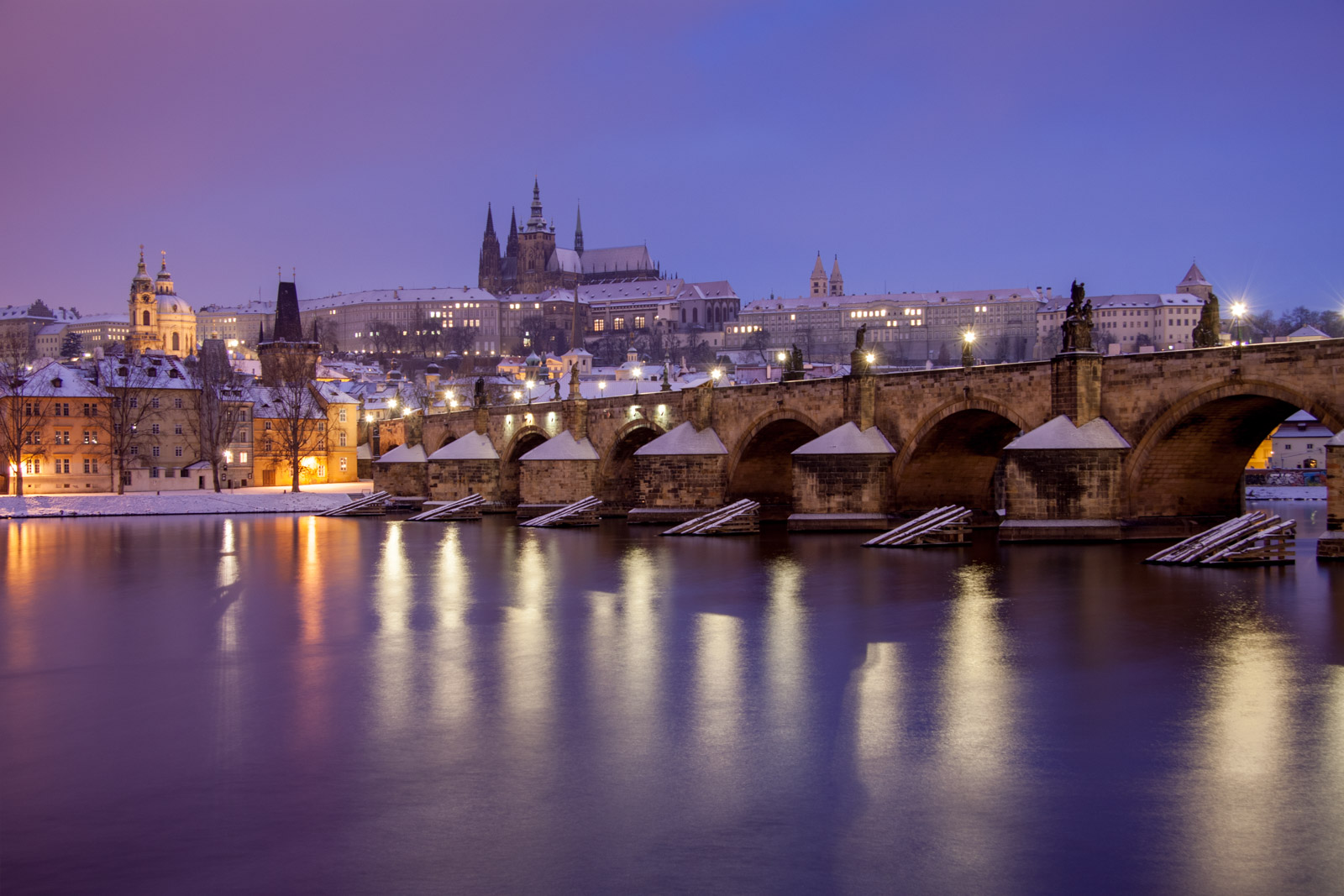 snow - night in prague