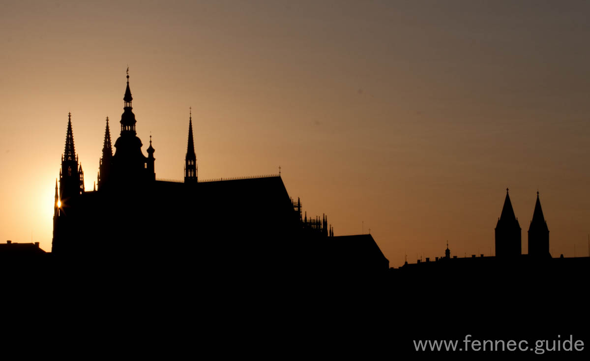 sunset over prague castle