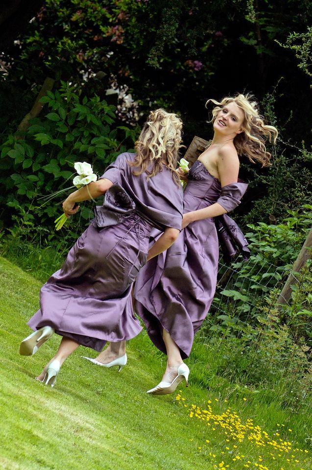 Bridesmaid running