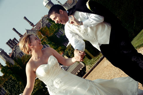 Bride and groom at eastwell manor