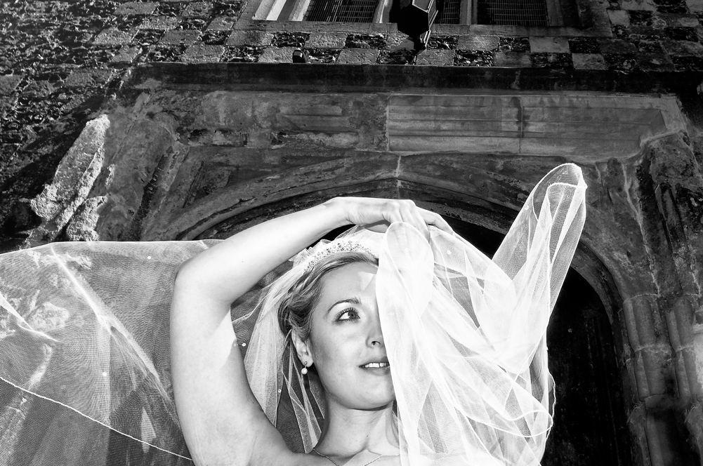 Bride looses her veil