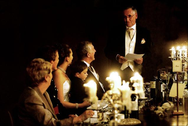 Wedding speeches under candlelight