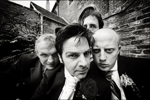 Fun shot of groom and lads