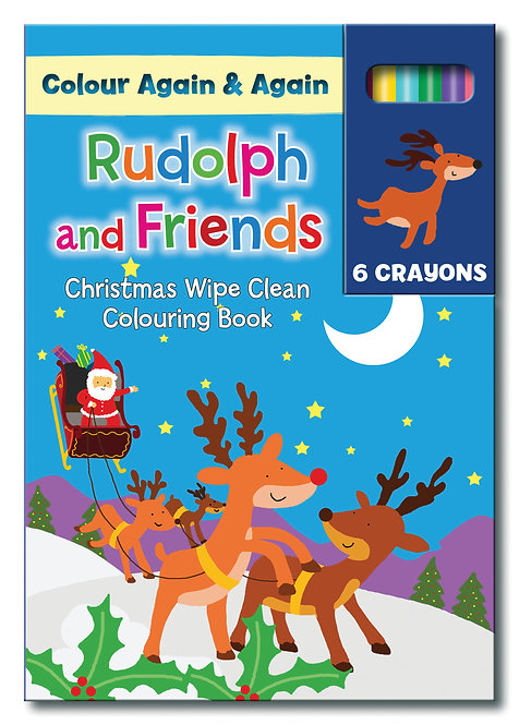 Rudolph and Friends - Reusable A5 Colouring Books