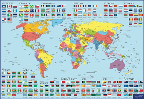 Discover World Map and Flags Educational Wall Chart